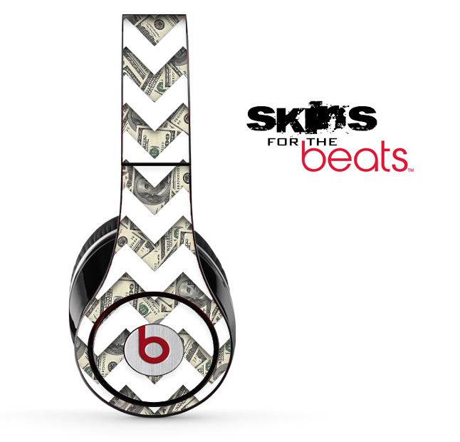 Money Bills and White Chevron Pattern Skin for the Beats by Dre Solo, Studio, Wireless, Pro or Mixr