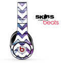 Blue/Pink Wood and White Chevron Pattern Skin for the Beats by Dre Solo, Studio, Wireless, Pro or Mixr