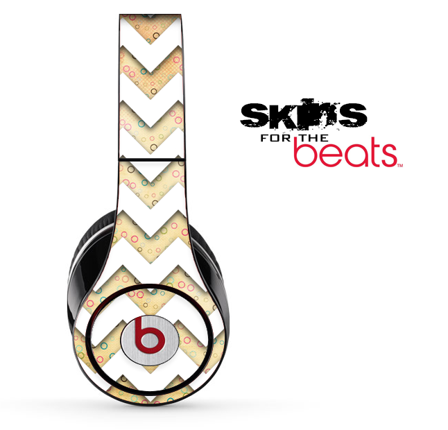Vintage Gold Spots and White Chevron Pattern Skin for the Beats by Dre Solo, Studio, Wireless, Pro or Mixr