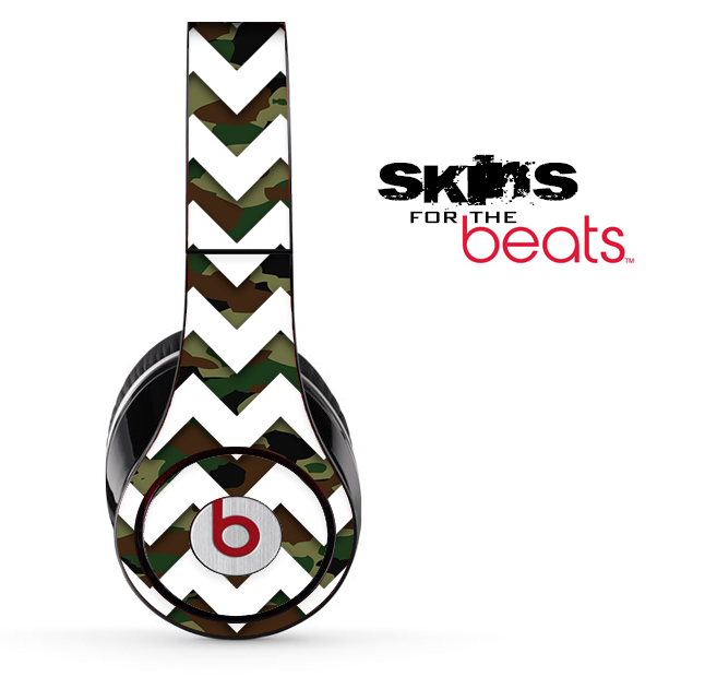 Traditional Camo and White Chevron Pattern Skin for the Beats by Dre Solo, Studio, Wireless, Pro or Mixr