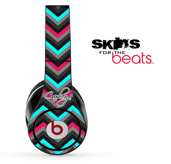 Custom Name Script On Pink-Teal-Black Chevron Pattern Skin for the Beats by Dre Solo, Studio, Wireless, Pro or Mixr