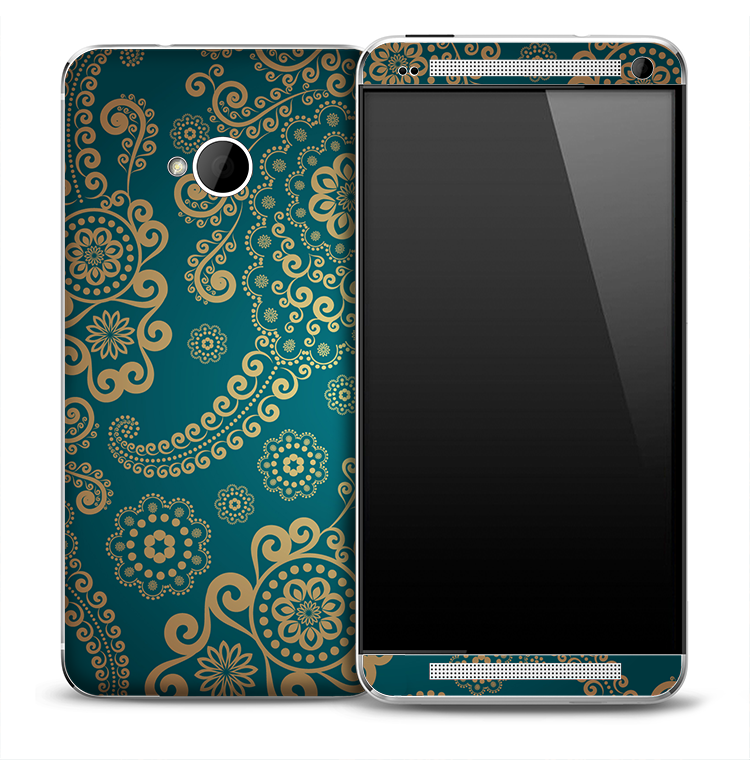 Blue & Gold Floral Skin for the HTC One Phone