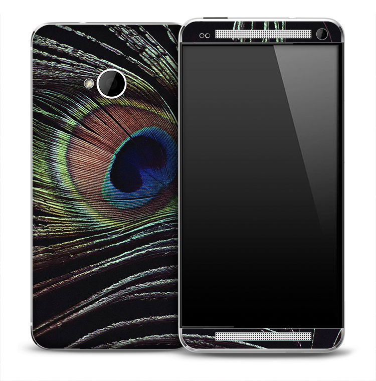 Dark Vibrant Peacock Feathers Skin for the HTC One Phone