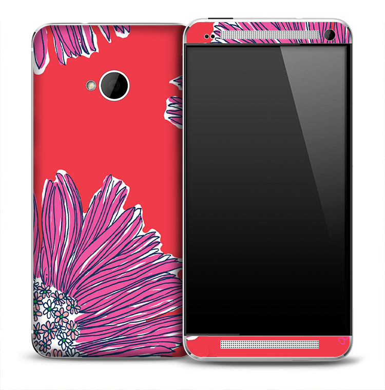 Artistic Purple Flower Skin for the HTC One Phone