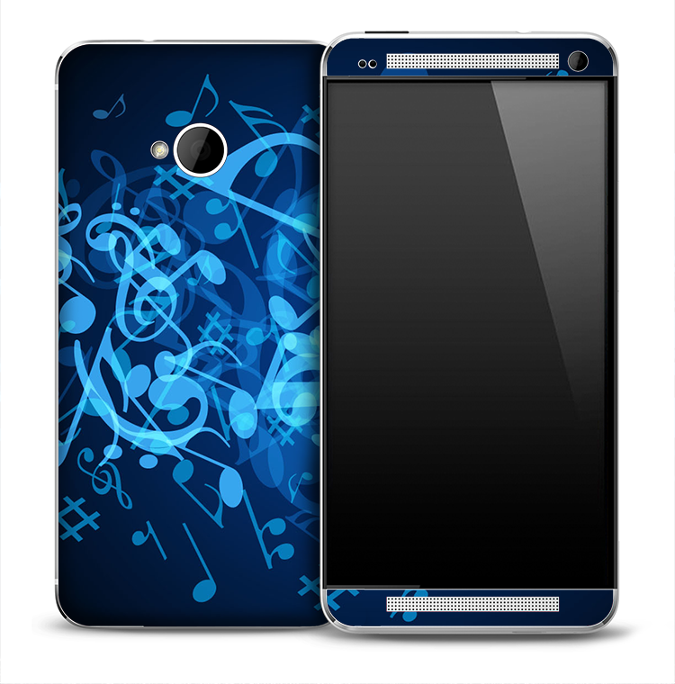 Neon Blue Notes Skin for the HTC One Phone