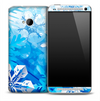 Artistic Blue Snowflake Skin for the HTC One Phone