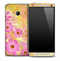 Yellow & Pink Flowers Skin for the HTC One Phone