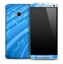 Glimmering Blue Swirl Skin for the HTC One Phone