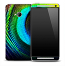 Large Neon Peacock Feather Skin for the HTC One Phone