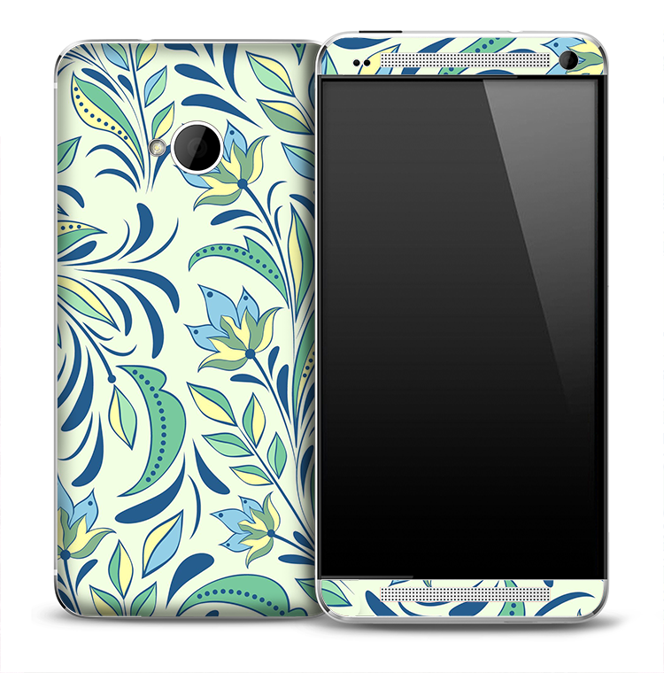 Vintage Blue & Green Floral Skin for the HTC One Phone