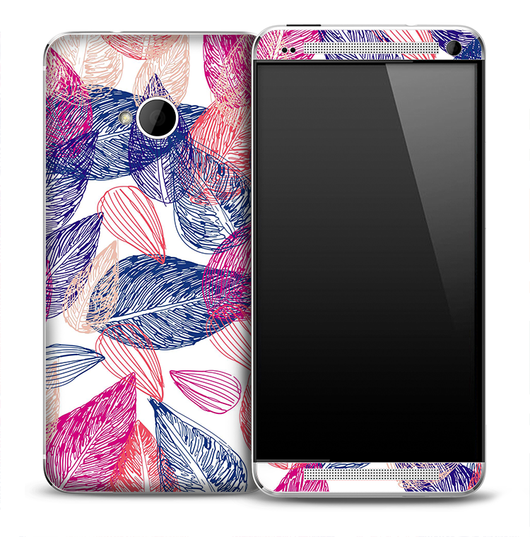 Blue & Red Leaf Skeleton Skin for the HTC One Phone