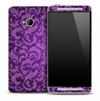 Bi-Color Purple Floral Skin for the HTC One Phone