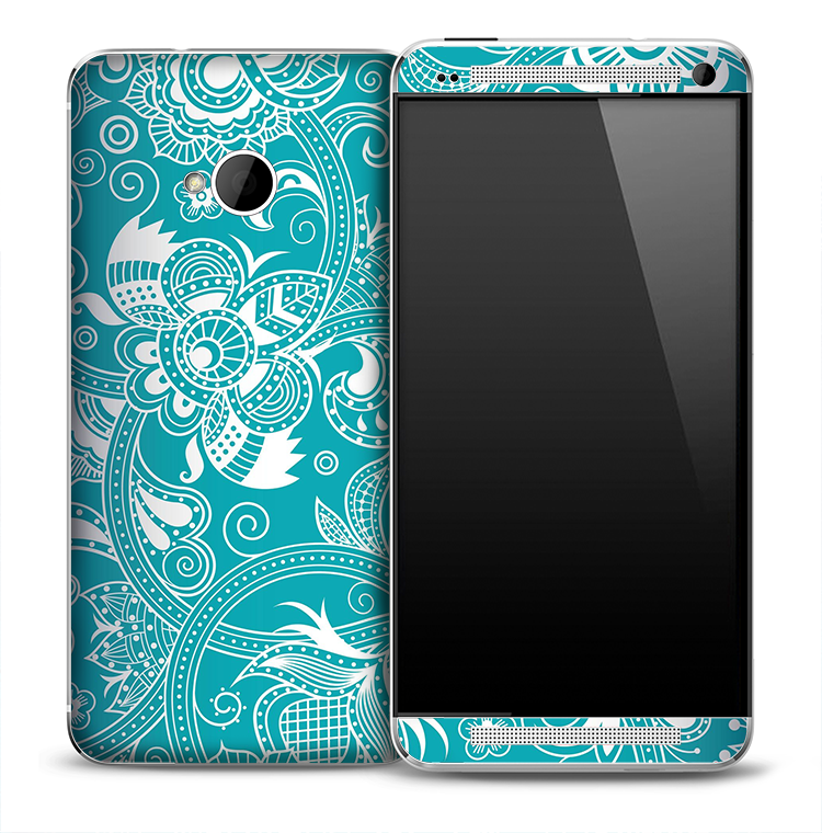 Turquoise White Floral Skin for the HTC One Phone