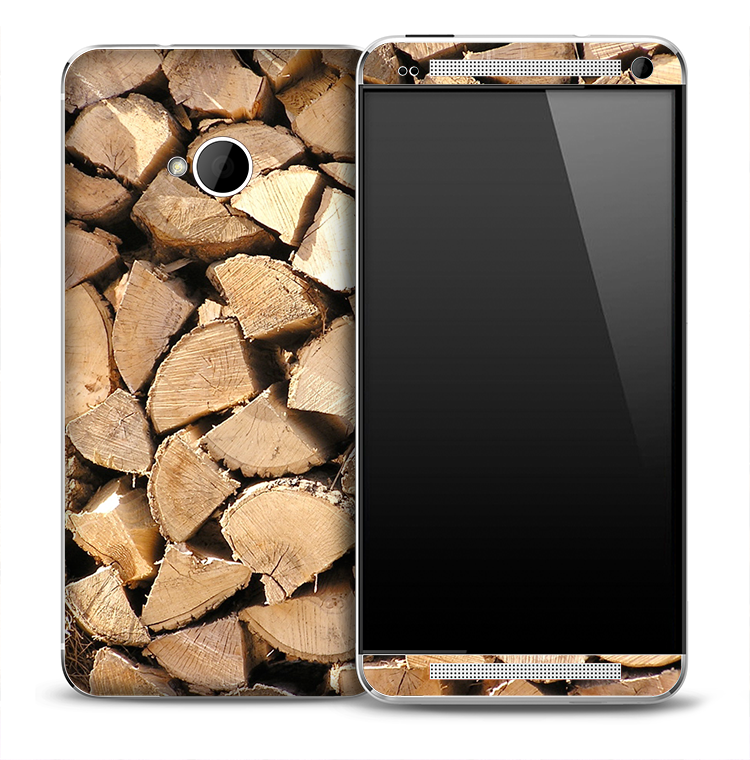 Stacked Firewood Skin for the HTC One Phone