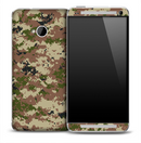 Green & Brown Digital Camo Skin for the HTC One Phone