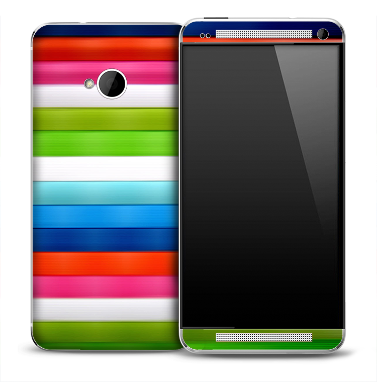 Neon Horizontal Stripes Skin for the HTC One Phone