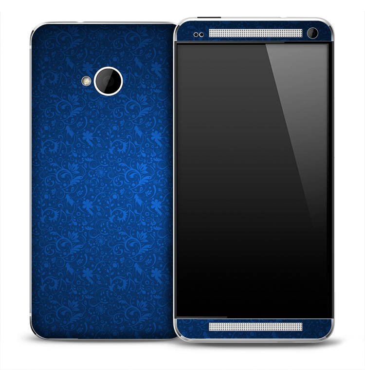 Vibrant Blue Floral Skin for the HTC One Phone