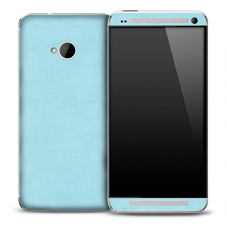 Baby Blue Fabric Skin for the HTC One Phone