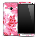 Abstract Pink Floral Skin for the HTC One Phone