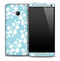 Light Blue Flowers Skin for the HTC One Phone