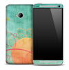 Turquoise Sunrise Fabric Skin for the HTC One Phone