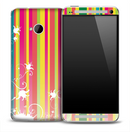 Colorful Vertical Stripe Splash Skin for the HTC One Phone