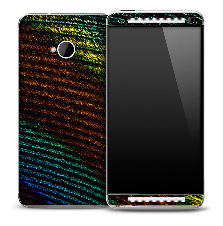 Close Peacock Feather Skin for the HTC One Phone