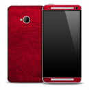 Red Leather Skin for the HTC One Phone