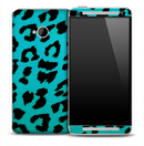 Turquoise Cheetah Print Skin for the HTC One Phone