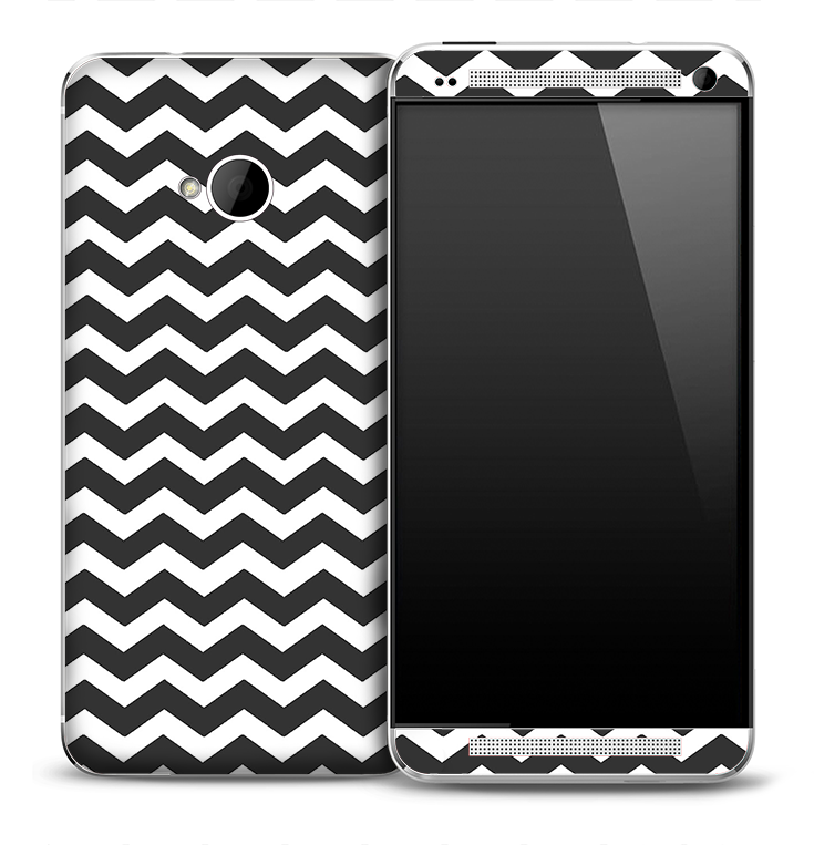 Chevron Pattern White & Dark Gray Skin for the HTC One Phone