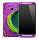 Neon Purple Peacock Skin for the HTC One Phone