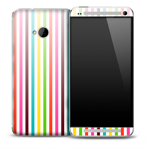Vibrant Colorful Vertical Stripes Skin for the HTC One Phone