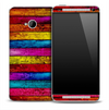Neon Colorful Wood Boards Skin for the HTC One Phone