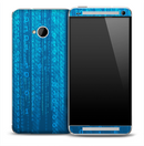 Neon Blue Binary Skin for the HTC One Phone