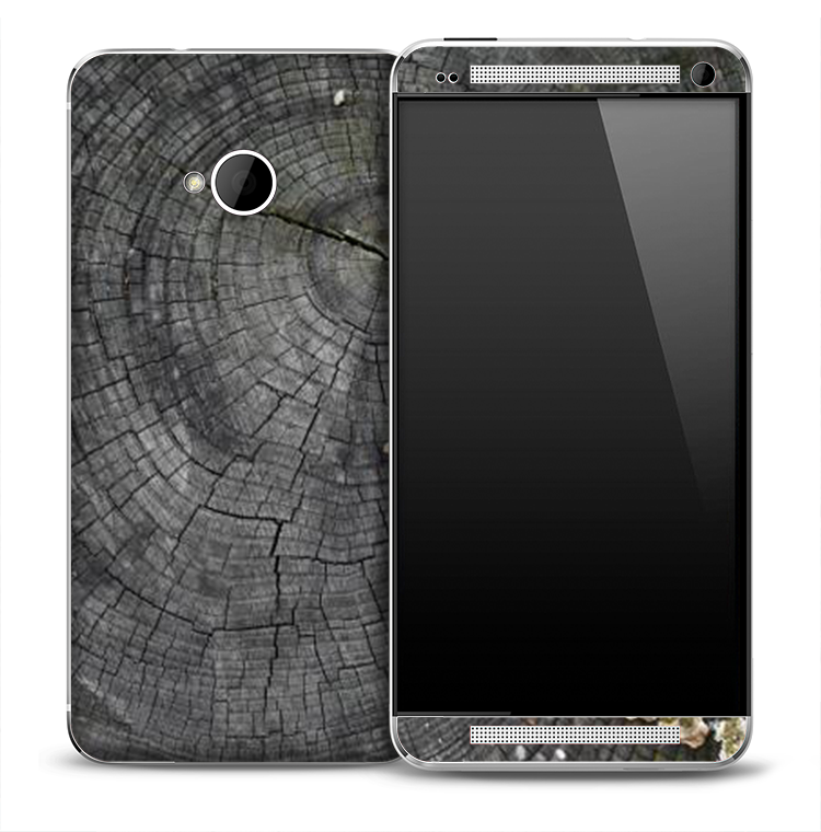 Dark Wood Stump Skin for the HTC One Phone