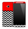 Red White and Black 2 Toned Chevron Pattern Skin for the HTC One Phone