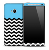 Turquoise White and Black 2 Toned Chevron Pattern Skin for the HTC One Phone