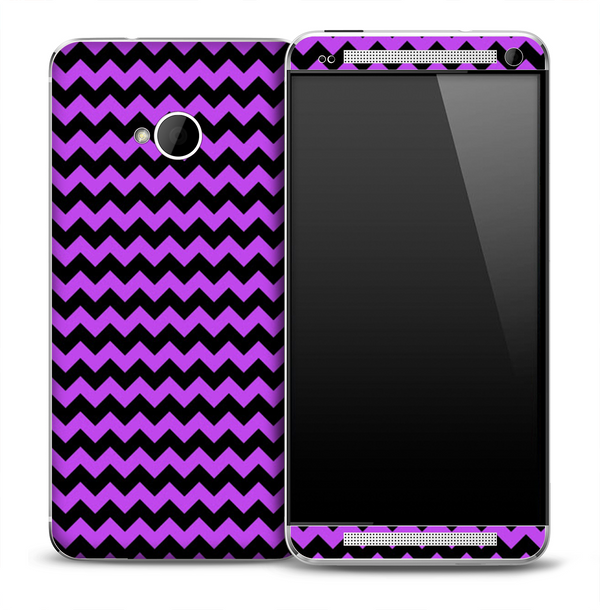 Purple and Black Chevron Pattern Skin for the HTC One Phone