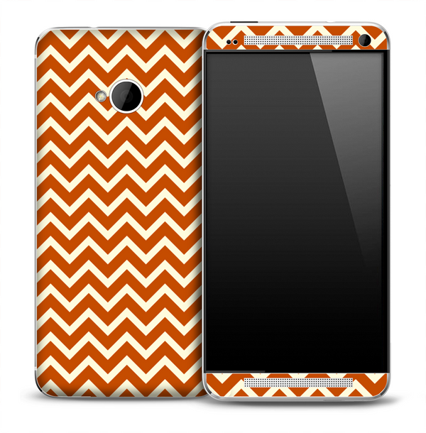 Tan and Brown Chevron Pattern Skin for the HTC One Phone