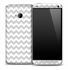Gray V6 And White Chevron Pattern Skin for the HTC One Phone