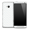 White and Gray V3 Chevron Pattern Skin for the HTC One Phone