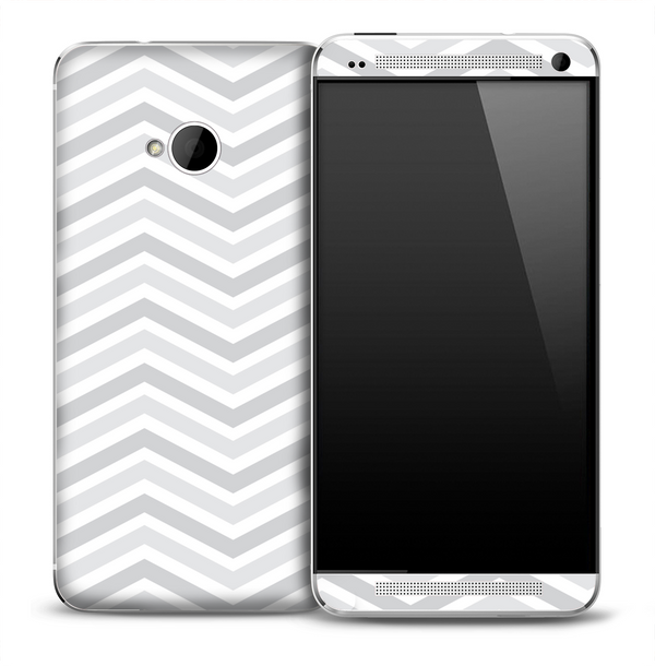 White and Gray V2 Chevron Pattern Skin for the HTC One Phone
