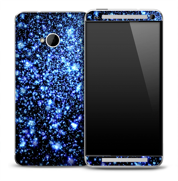 Space Galaxy Blue V2 Pattern Skin for the HTC One Phone