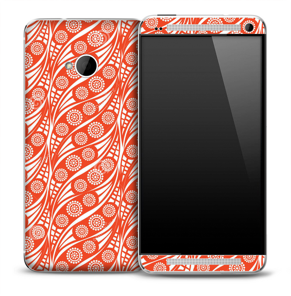 Abstract Red Swirl Pattern Skin for the HTC One Phone