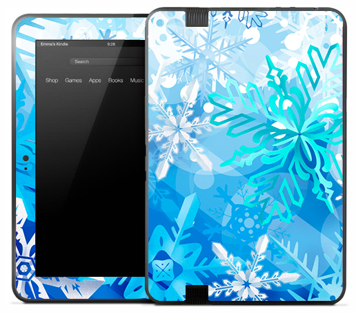 Artistic Blue Snowflakes Skin for the Amazon Kindle