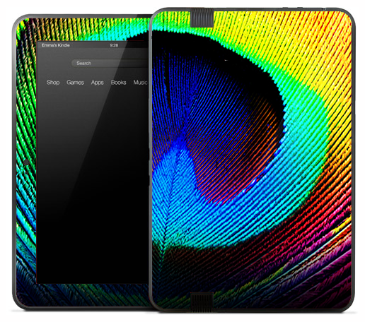 Vibrant Large Peacock Feather Skin for the Amazon Kindle