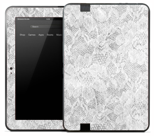 White Flower Lace Skin for the Amazon Kindle