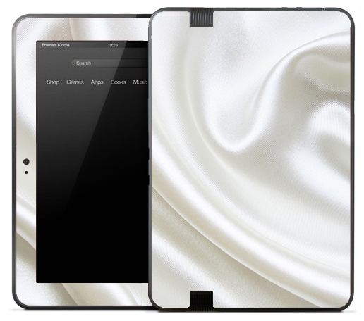 White Silky Sheet Skin for the Amazon Kindle