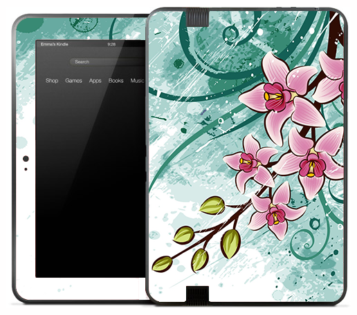 Artistic Green & Pink Flower Skin for the Amazon Kindle