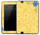 Stamped Yellow Flower Skin for the Amazon Kindle
